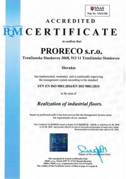 certifikát ISO 9001 2016 ENG